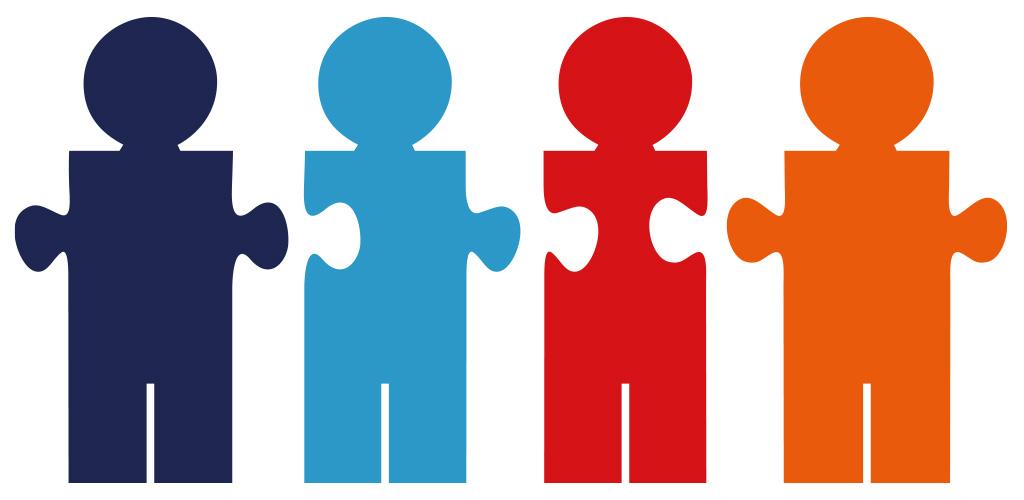4 Puzzleteile als Figuren - Teamdarstellung